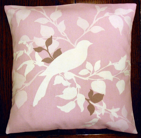 """16"""" x 16"""" cushion cover - bird on pink"""