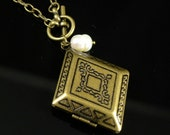 SALE - Buy any 2 items, get 1 FREE....Engraved Rhombus Locket Necklace