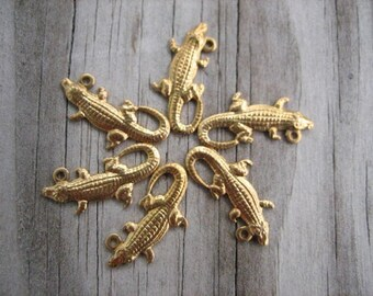 Six Raw Brass Alligator Charms