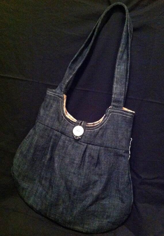 Medium Denim Purse with Reclaimed Vintage Fabric Lining