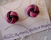 AZALEA PINK Textured and RAISIN Colored Smooth Leather Handmade LOVER'S KNOT Pierced Earrings - Sterling Silver Posts and Clutch Backs - Can Adapt for BUTTONS