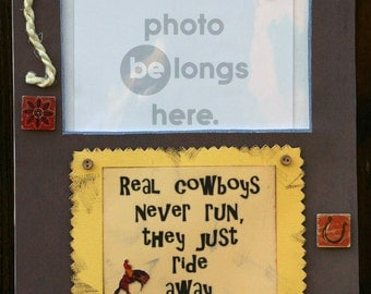 WesTerN PicTure FrAme \/ CowBoy \/ BrowN \/ HorSe \/ RopE