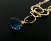 Blue Topaz and gold filled wire wrapped necklace - Adamaris Limited Edition Necklace