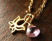 Custom Birthstone Gold Filled Bracelet, Lotus Flower, Pink Zircon - Lily Limited Edition Bracelet