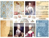Instant Download Marie Antoinette Digital Collage Sheet  ATC/ACEO Collection  DCS-318, Printables, Downloads