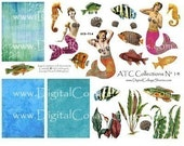 Instant Download Mermaid Collage Sheet   ATC/ACEO  Collection No 14  DCS-514 DigitalCollageSheets, Printables, Downloads