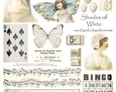 Instant Download White Digital Collage Sheet Color Collections   Mixed Media Collage Images DCS-316, Printables, Downloads