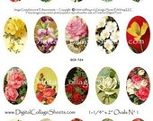 Instant Download Floral Oval Collage Sheet  1-1/4 x 2 Inch Ovals Flower Craft Images DigitalCollageSheets DCS-524, Printables, Downloads