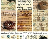 Instant Download Bird And Nest Collage Sheet ATC ACEO Backgrounds DCS- 526  DigitalCollageSheets, Printables, Downloads