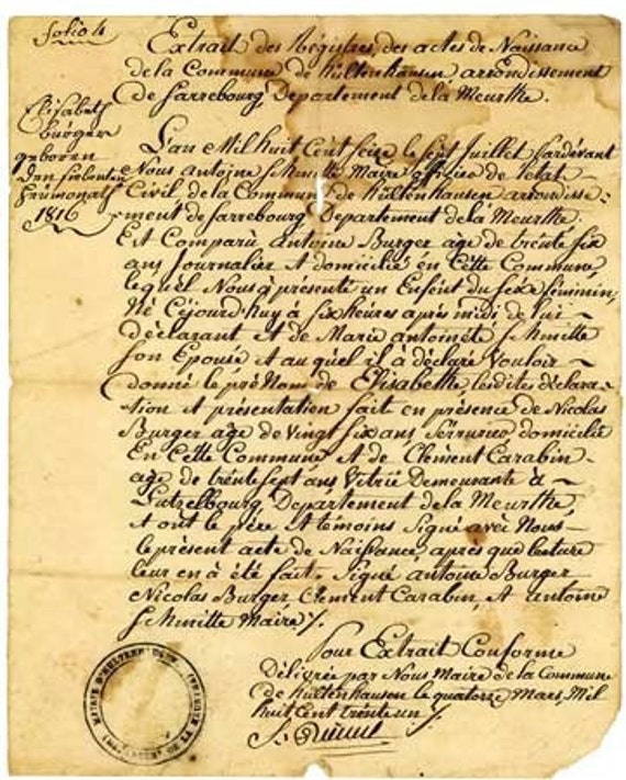 French Birth Certificate: Items Similar To 1816 French Birth Certificate Vintage