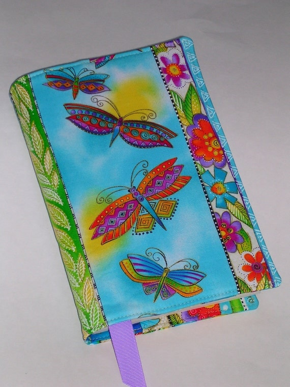 Fabric Book Cover (for trade size paperback books 5.25 X 8) with ribbon bookmark
