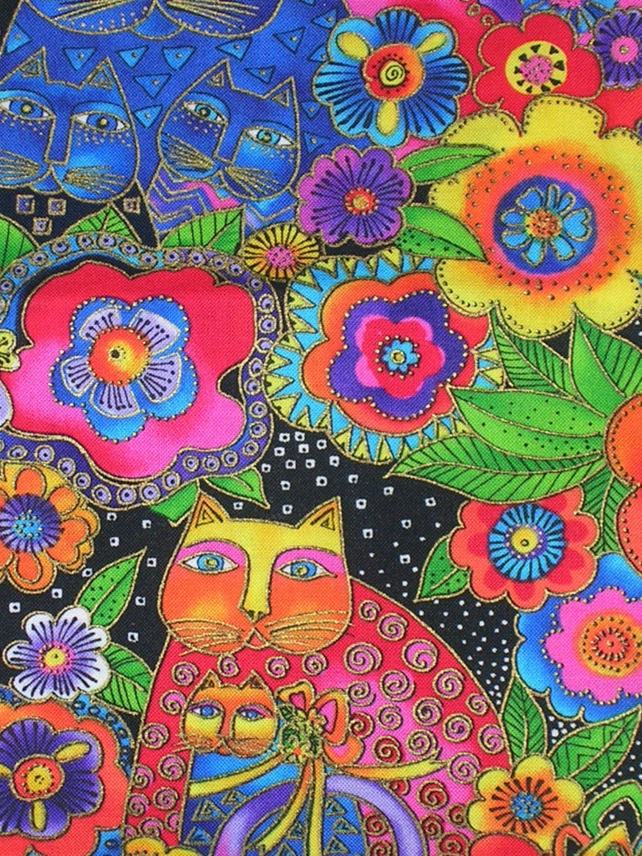 Destash 1 Yard Laurel Burch Fanciful Felines Fabric