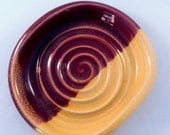 Raspberry Red and Buttery Yellow Stoneware Soap Dish