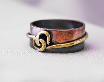Two Tone Ring, Mans Ring, Copper Band, Handmade Ring, Rustic Ring, Copper and Brass Ring