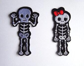 Set of 2 skeleton couple iron on applique