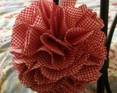 Fabric Flower Pom Ball, Vintage Red and White Gingham Fabric, Wedding Decor