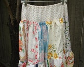 Skirt From Vintage Hankies, Gathered, Size M