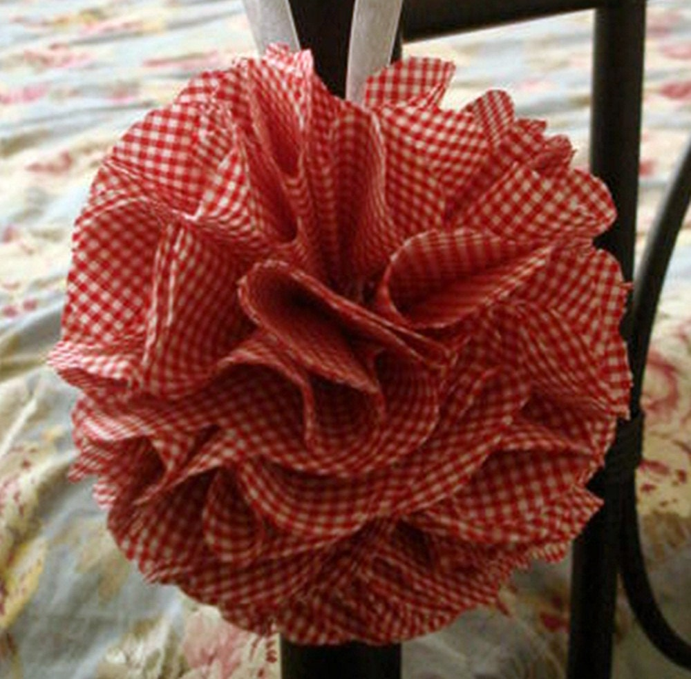 Fabric Flower Pom Ball Vintage Red And White Gingham Fabric
