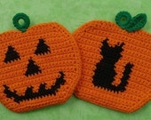 Halloween Pumpkin Potholders Crochet PATTERN Set - INSTANT DOWNLOAD