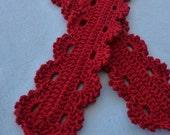Crimson Lace Scarf Crochet PATTERN - INSTANT DOWNLOAD
