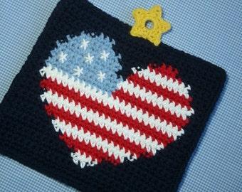 I Heart America Potholder Crochet PATTERN - INSTANT DOWNLOAD