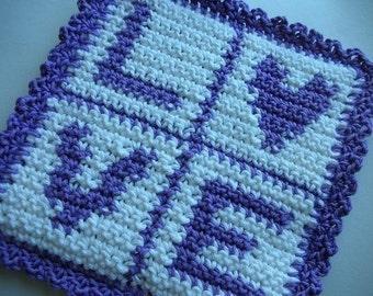 Love Potholder Crochet PATTERN - INSTANT DOWNLOAD