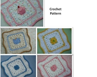 5 Dishcloth Set - Crochet PATTERN - INSTANT DOWNLOAD