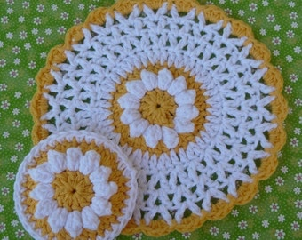 Daisy Dishcloth and Scrubbie Set Crochet PATTERN - INSTANT DOWNLOAD