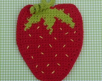 Strawberry Potholder Crochet PATTERN - INSTANT DOWNLOAD