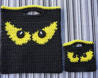 Spooky Eyes Halloween Bags Crochet PATTERN - INSTANT DOWNLOAD