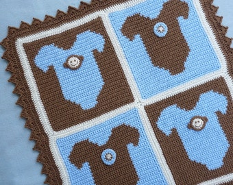 Monkey Onesie Baby Blanket Crochet PATTERN - INSTANT DOWNLOAD