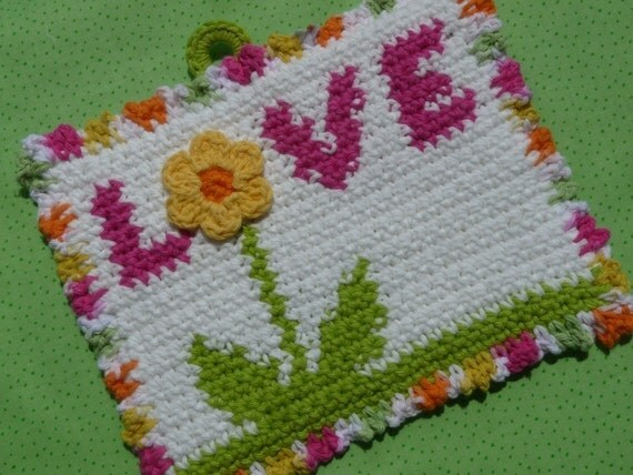 Love is in the Air Potholder Crochet PATTERN - INSTANT DOWNLOAD