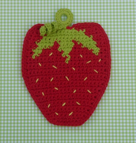 Strawberry Potholder Crochet PATTERN - INSTANT DOWNLOAD