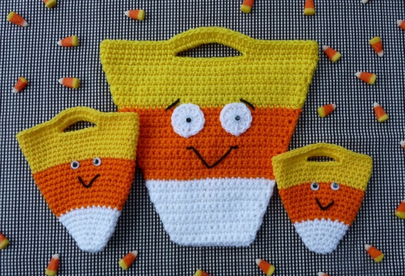 Candy Corn Halloween Bag Set Crochet PATTERN - INSTANT DOWNLOAD
