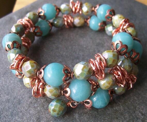 Amazonite Copper Czech Glass Memory Wire Bracelet