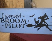 Licensed Broom Pilot Witch Handpainted Wood Sign Wall Hanging Wiccan Plaque