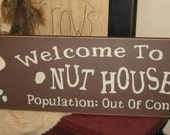 Welcome To The Nuthouse Population Out Of Control Primitive Handpainted Wood Sign Humorous Funny Squirrel Home Decor Wall Hanging Plaque