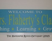 Personalized Custom Teacher Classroom Sign Handpainted Primitive Wood Sign 8x24 Plaque DESIGN YOUR OWN