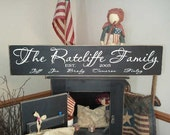 Custom Family Name Handpainted Primitive Wood Sign 8x36 Plaque Established You Choose It all NEW LARGER SIZE