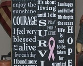 Breast Cancer Survivor Typography subway Painted Wood Sign Plaque BRAND NEW DESIGN