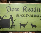 Paw Readings Witch Primitive Wood Sign Halloween Cats Cat Kitten Wall Hanging Home Decor WICCAN Plaque Wicca Fall