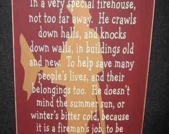 My Dad Is A Fireman Primitive Handpainted Wood Sign Wall Decor Firefighter Plaque Firehouse Hanging Plaque Custom Colors