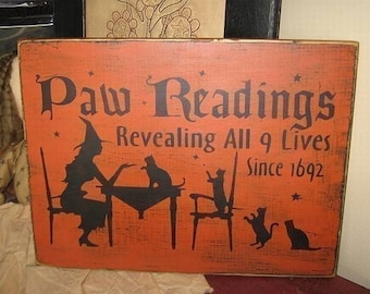 Paw Readings Black Cats Kitten Wicca Witch Handpainted Primitive Wood Sign Plaque