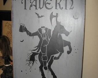 The Sleepy Hollow Tavern Headless Horseman Handpainted Primitive Wood Sign Halloween Plaque