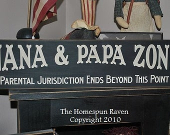 Nana and Papa Zone Primitive Handpainted Wood Sign Plaque BRAND NEW