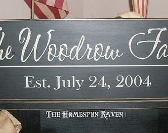 Custom Family Name Handpainted Primitive Wood Sign 8x24 Plaque Established You Choose It all