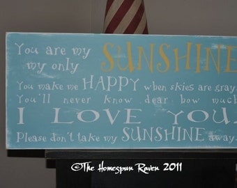 You are my Sunshine sign Primitive Handpainted Shabby Plaque Subway Sign Nursery Chic Typography