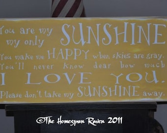 You are my Sunshine Primitive Handpainted Shabby Plaque Subway Sign Nursery Chic Typography