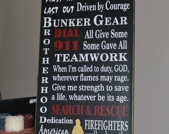 Firefighter Firefighting Typography subway Painted Wood Sign Plaque EXCLUSIVE DESIGN