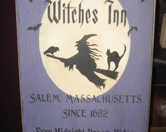 Olde Salem Witches Inn Primitive Witch WICCAN Halloween Sign Wood Wall Decor Pagan Black Magic Plaque Witchcraft Decor